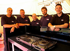 DJ console and technical team at the Spoony Classic golf day
